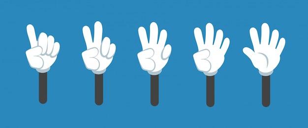Dessin animé comptant la main avec le numéro gestes isolé jeu. compte à rebours avec les symboles vectoriels doigts Vecteur Premium
