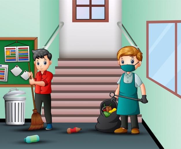Dessin animé, concierge, nettoyage, couloir école Vecteur Premium