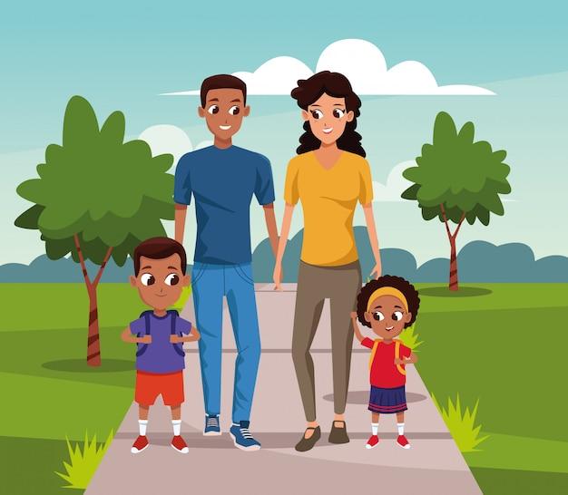 Dessin Animé Couple Heureux Marchant Avec Des Enfants Sur Le Paysage Vecteur Premium