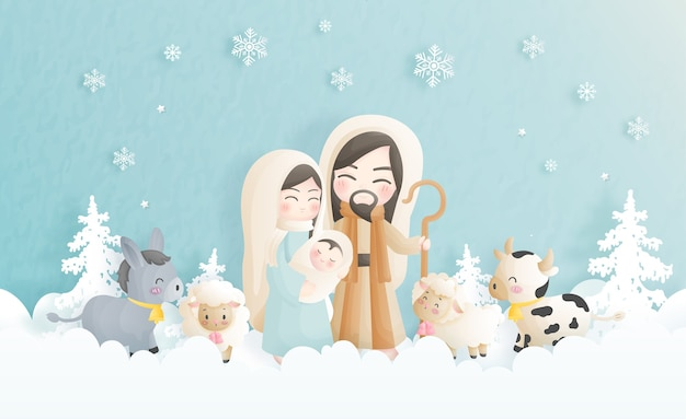 Un Dessin Animé De Crèche De Noël, Avec L'enfant Jésus, Marie Et Joseph Et D'autres Animaux. Illustration Religieuse Chrétienne. Vecteur Premium