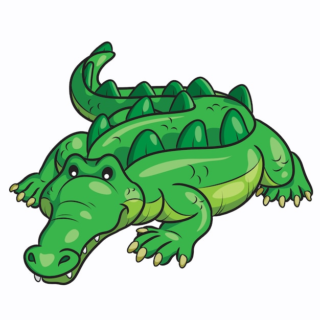 Dessin animé crocodile mignon Vecteur Premium