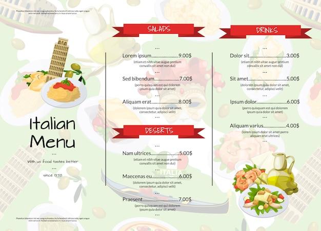 Dessin Animé Cuisine Italienne Café Ou Restaurant Menu Modèle Illustration Vecteur Premium