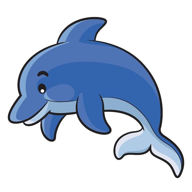 Dessin animé de dauphin Vecteur Premium