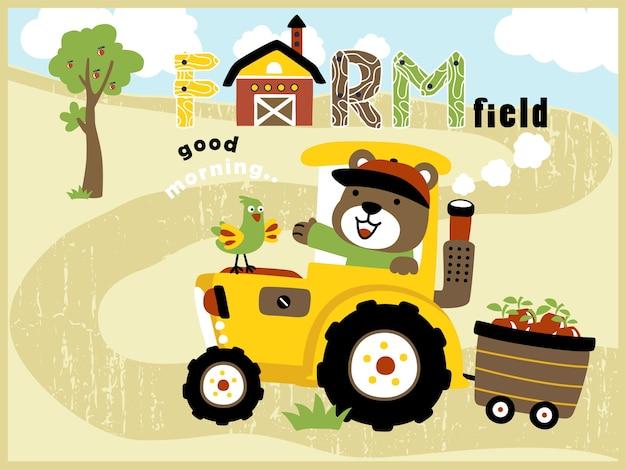Dessin anim de champ de ferme avec tracteur jaune avec agriculteur dr le t l charger des - Dessin anime avec tracteur ...