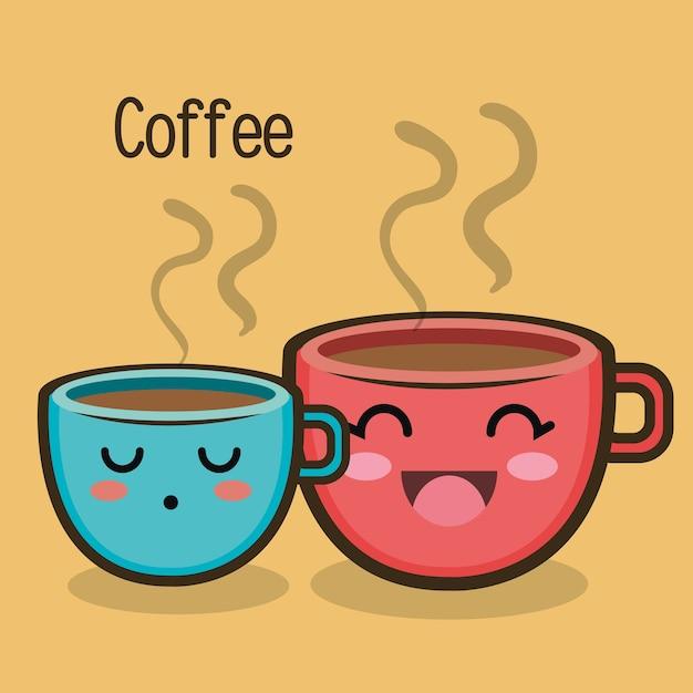 Dessin anim deux tasse de caf expression t l charger des vecteurs premium - Tasse de cafe dessin ...
