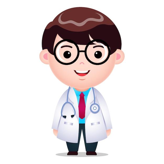 Dessin Animé, Docteur, Caractère Masculin, Illustration Vecteur Premium