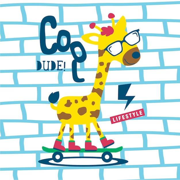 Dessin animé drôle d'animal girafe cool Vecteur Premium