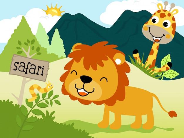 Dessin animé drôle d'animaux dans la jungle Vecteur Premium