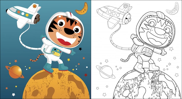 Dessin animé drôle d'astronaute et de navette dans l'espace Vecteur Premium