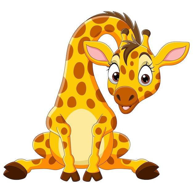 Dessin Animé Drôle Bébé Girafe Assis Vecteur Premium