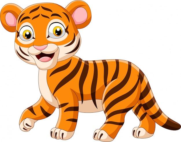 Dessin Anime Drole Bebe Tigre Vecteur Premium
