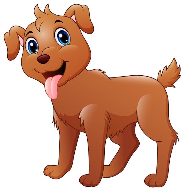Dessin animé drôle de chien Vecteur Premium