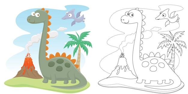 Dessin Animé Drôle De Dinosaures Avec éruption Du Volcan Vecteur Premium