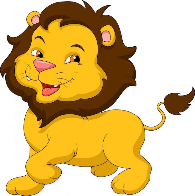 Dessin animé drôle de lion Vecteur Premium