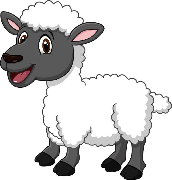 Dessin Animé Drôle De Mouton Posant Isolé Sur Fond Blanc Vecteur Premium