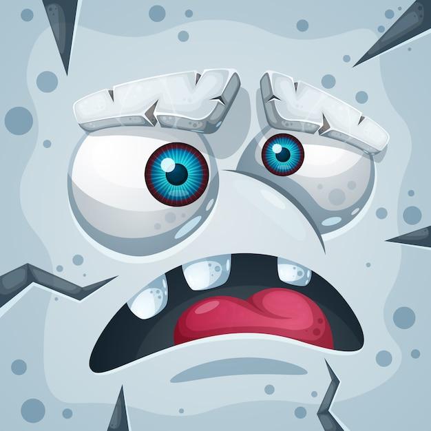 Dessin animé drôle, personnage de monstre de pierre mignon Vecteur Premium