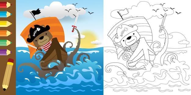 Dessin Animé Drôle De Pirate Combattant Avec Monstre De Mer Vecteur Premium