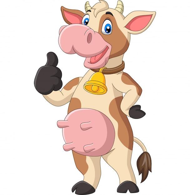 Dessin Animé Drôle Vache Abandonnant Le Pouce   Vecteur ...