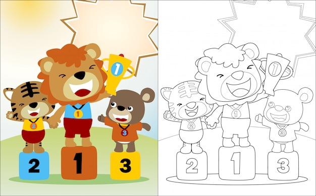Dessin animé de drôles d'animaux sur le podium du concours gagnant Vecteur Premium