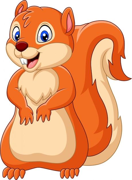 Dessin animé écureuil heureux Vecteur Premium