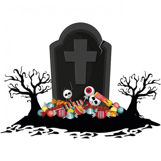 Dessin animé effrayant d'halloween Vecteur Premium