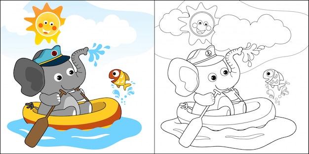 Dessin animé d'éléphant mignon sur un bateau pneumatique avec un petit poisson Vecteur Premium
