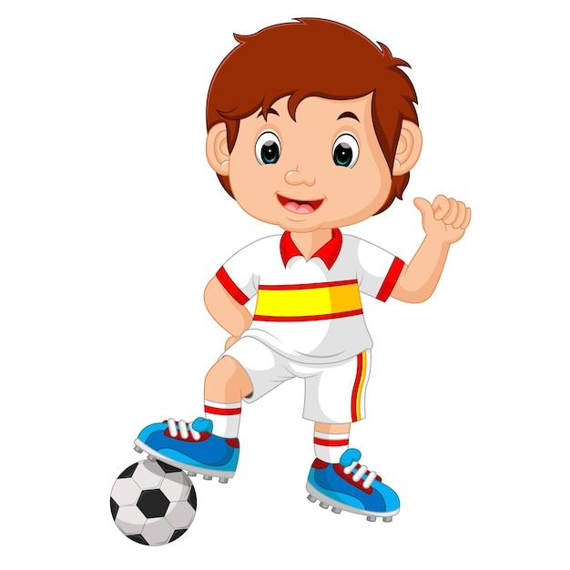 Dessin Animé Enfant Jouant Au Football Vecteur Premium