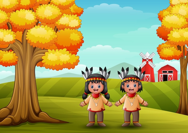 Dessin animé enfants amérindien américain dans le fond de la ferme Vecteur Premium