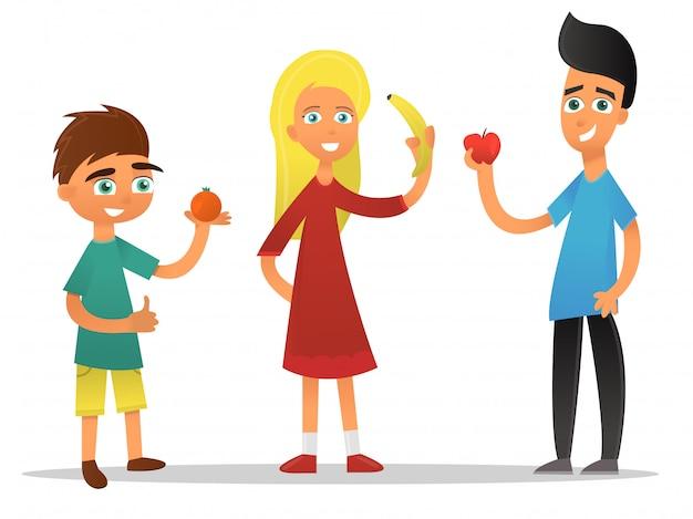 Dessin Animé Enfants Avec Des Fruits Sur Fond Blanc. Vecteur Premium