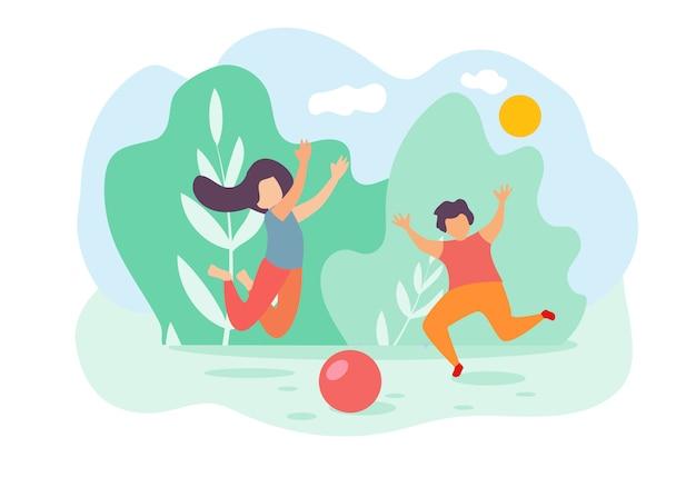 Dessin animé enfants garçon et fille sauter et jouer balle de jouet Vecteur Premium