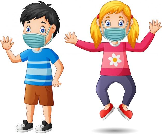 Dessin Animé Enfants Heureux Porter Un Masque De Protection Contre Le  Virus. Illustration | Vecteur Premium