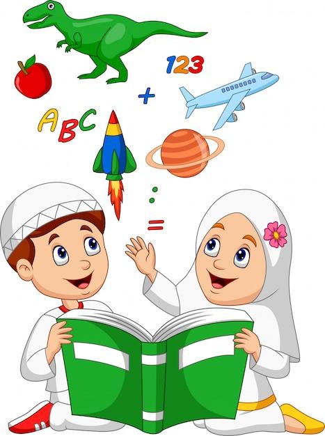 Dessin Anime Enfants Musulmans Lecture Concept D Education
