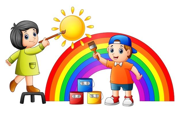 Dessin Animé Enfants Peinture Arc En Ciel Et Soleil