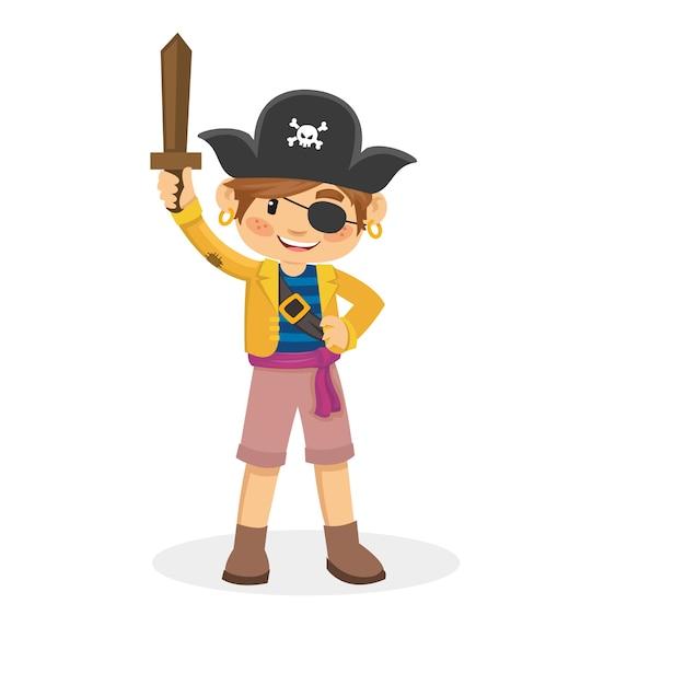 Dessin Animé D'enfants Pirate Vecteur Premium