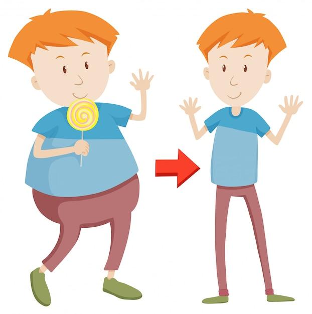 Un dessin animé de fat et slim boy Vecteur gratuit