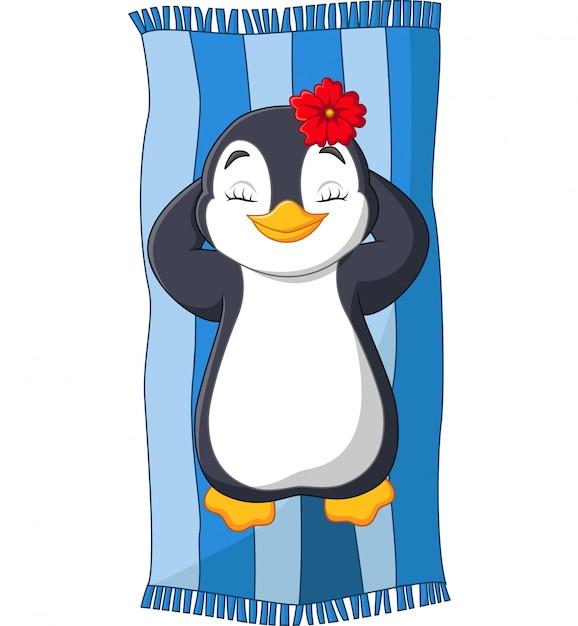 Dessin animé femelle pingouin au soleil sur la plage Vecteur Premium