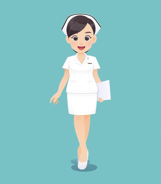 Dessin animé femme médecin ou infirmière en uniforme blanc tenant un presse-papiers, sourire de personnel infirmier féminin, illustration vectorielle dans la création de personnage Vecteur Premium