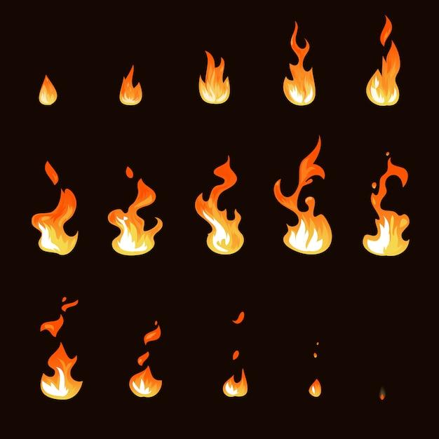 Dessin animé feu flamme feuille animation set sprite Vecteur Premium