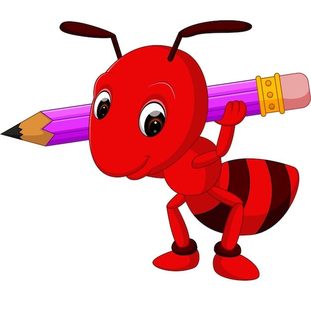 Dessin Animé Fourmi Rouge Tenant Un Crayon Télécharger Des