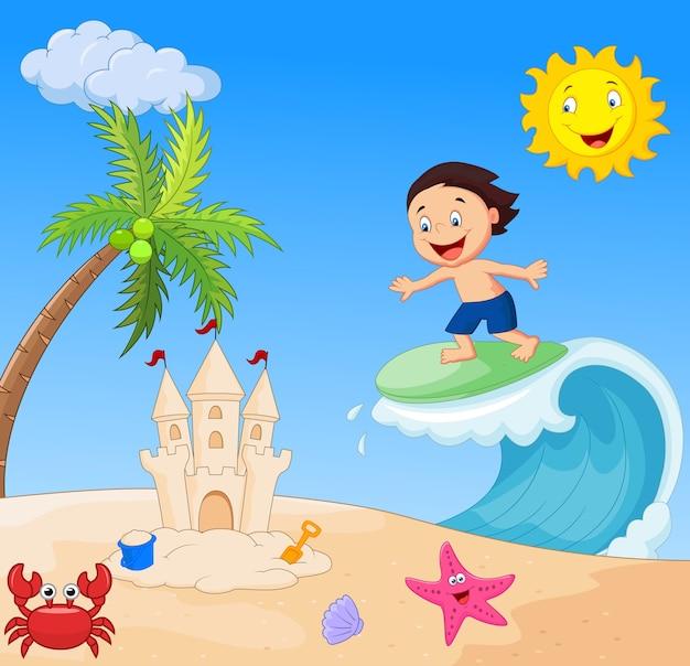 Dessin animé garçon heureux surf Vecteur Premium