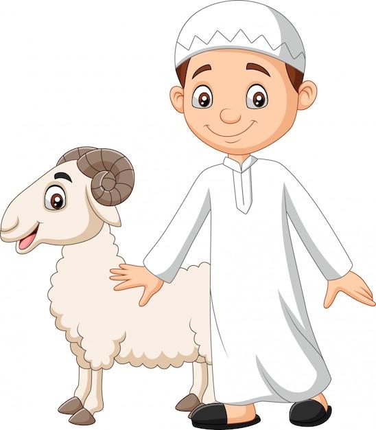 Dessin animé garçon musulman tenant une chèvre Vecteur Premium