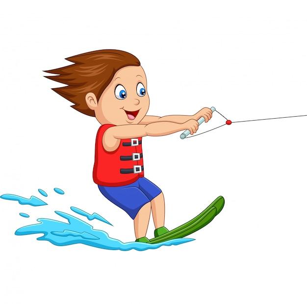 Dessin animé, garçon, ski nautique Vecteur Premium