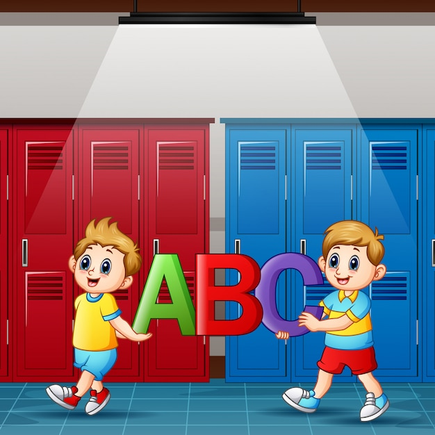 Dessin animé, garçons, tenue, alphabets, dans, vestiaire Vecteur Premium