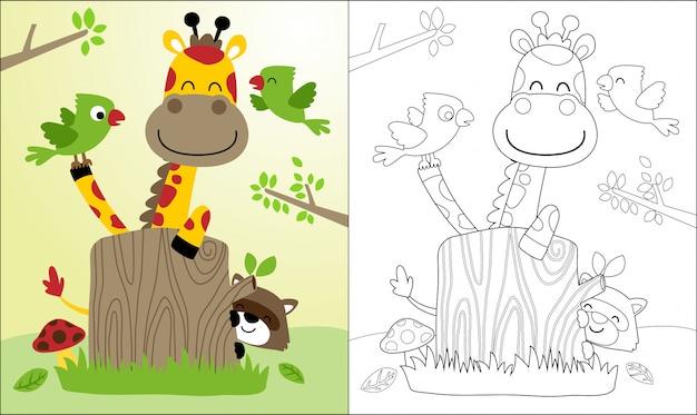 Dessin animé de girafe et amis, raton laveur, oiseaux. Vecteur Premium