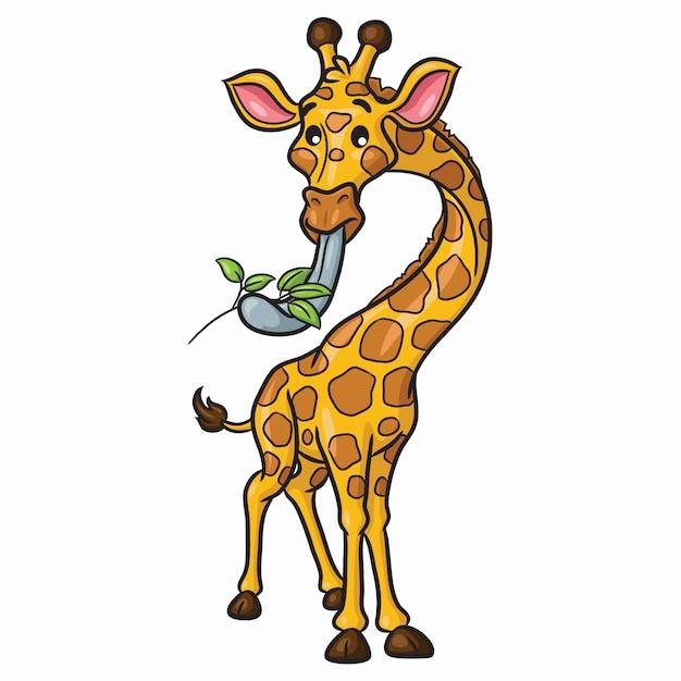 Dessin animé girafe mignon Vecteur Premium