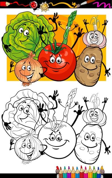 Coloriage Pomme Et Oignon Dessin Anime.Dessin Anime De Groupe De Legumes Pour Livre De Coloriage