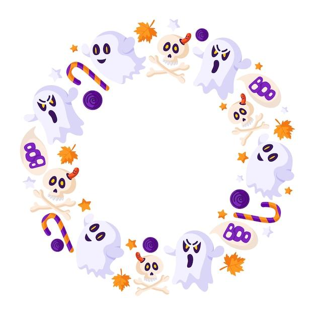 Dessin Animé Halloween Cadre Rond Ou Guirlande Avec Des éléments - Fantôme Effrayant, Crâne, Os, Canne à Sucre Et Sucette, Feuille D'automne - Vecteur Isolé Vecteur Premium