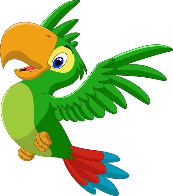 Dessin animé heureux perroquet volant   Télécharger des ...