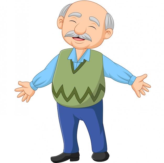 Dessin animé heureux senior vieillard Vecteur Premium