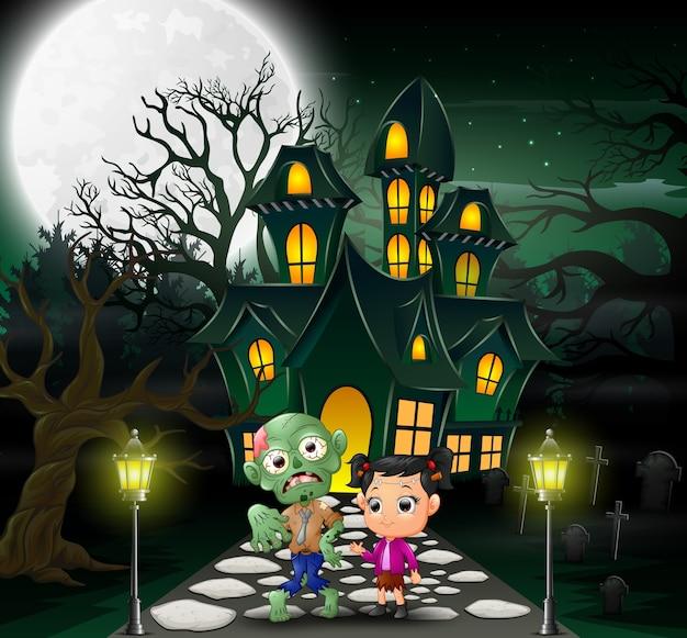 Dessin Animé Heureux Zombie Halloween Devant La Maison